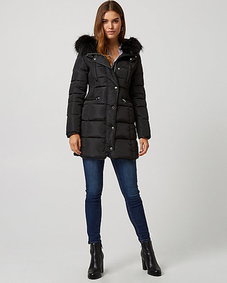 Le Château Puffer Coat with Faux Fur Hood