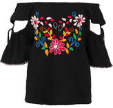 Sensi Studio - Off-the-shoulder Cutout Embroidered Crinkled-cotton Top - Black