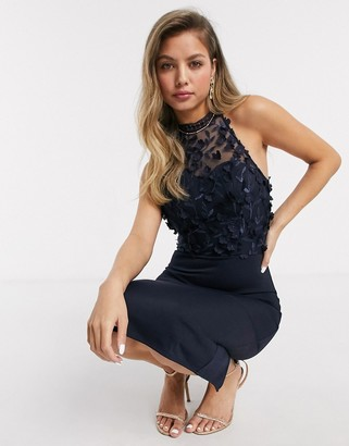 Chi Chi London Chi Chi Eryca midi pencil dress in navy