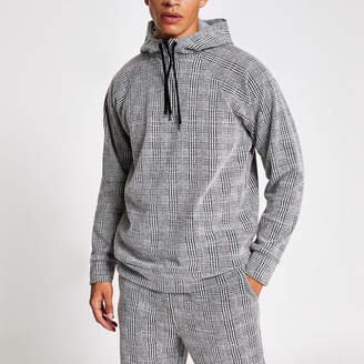 River Island Light grey slim fit check hoodie