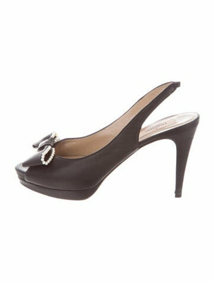 Valentino Faux Pearl Accents Leather Slingback Pumps Black