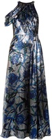Christopher Kane Rose-print lamé draped gown