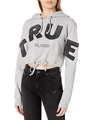 True Religion Women's Long Sleeve Pullover Fleece Hoodie
