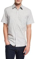 Billy Reid Tonal Houndstooth Short-Sleeve Sport Shirt, Gray