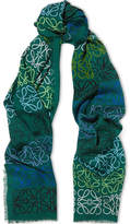 Loewe Intarsia Wool, Silk And Cashmere-blend Scarf - Emerald