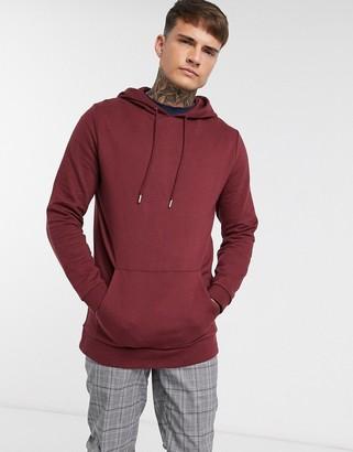 ASOS DESIGN organic longline hoodie in burgundy