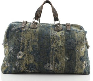 Gucci Helmut Carry On Duffle Bag Printed Jacquard with Leather Large