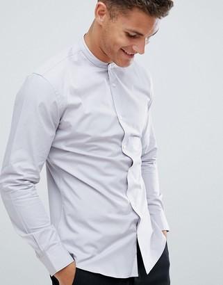French Connection Plain Poplin Grandad Slim Fit Shirt