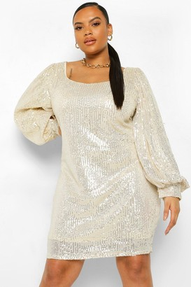 boohoo Plus Sequin Blouson Sleeve Mini Dress