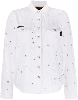 Philipp Plein Distressed Crystal-Embellished Shirt