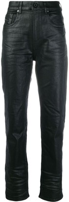 Diesel Black Gold Waxed-Effect High-Waisted Trousers