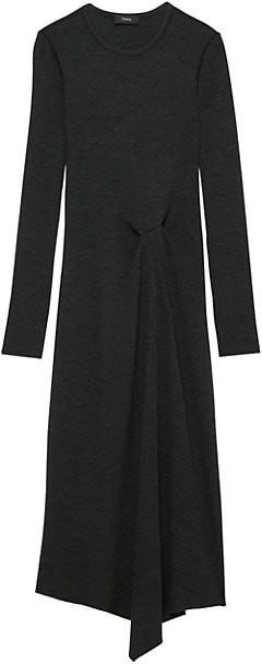 Theory Ribbed Tuck Draped Midi Dress