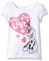 Disney Girls' Toddler Girls' Frozen Olaf Made With Love Short Sleeve T-Shirt