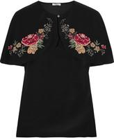 Vilshenko Lily Rose Cape-effect Floral-print Silk Crepe De Chine Top - Black