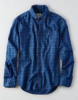 American Eagle AEO Indigo Plaid Button Down Shirt