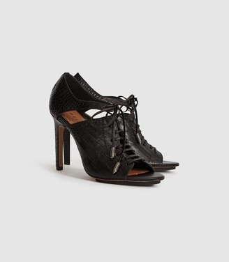 Reiss MILA LEATHER LACE UP HEELED SHOES Black Croc