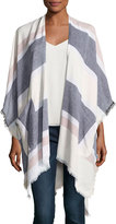 Vince Camuto Raw-Edge Woven Blanket Wrap, White