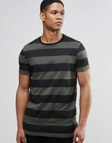 Asos Longline Stripe T-Shirt In Khaki And Black
