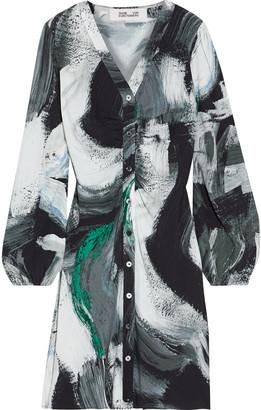 Diane von Furstenberg Calico Ruched Printed Crepe Mini Dress