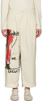 Yohji Yamamoto Ivory Graphic Pleated Trousers