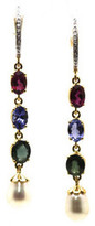 Tresor Collection - Multicolor Tourmaline, Pearl & Diamond Earring in 18k Yellow Gold