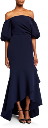 Shoshanna Alpida Off-the-Shoulder Midnight Stretch Crepe Flounce Gown