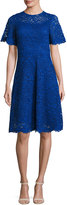 Rickie Freeman For Teri Jon Short-Sleeve Lace A-Line Cocktail Dress, Royal