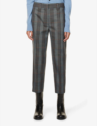 Acne Studios Checked tapered mid-rise wool-blend trousers