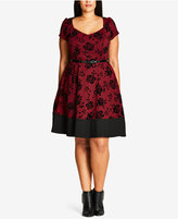 City Chic Trendy Plus Size Flocked Fit & Flare Dress