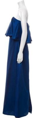 Halston Strapless Long Dress Blue