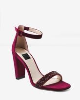 White House Black Market Velvet Chunky Heels