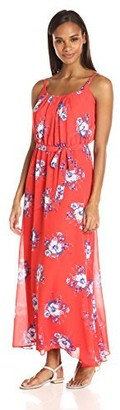 Robbie Bee Women's Floral Printed Chiffon Blouson Maxi with Spagetti Straps