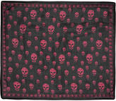 Alexander McQueen Black and Pink Silk Skull Scarf