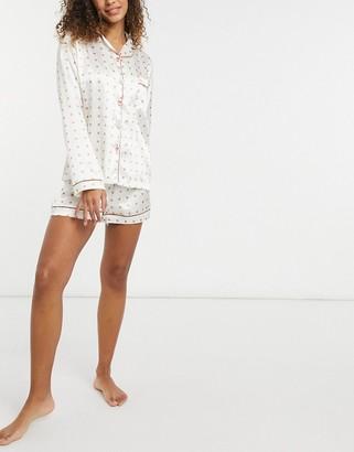 NIGHT polka dot satin shirt and shorts pyjama set in cream and pink
