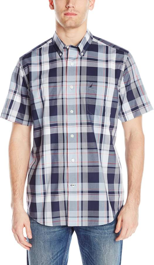 Nautica Men's Short Sleeve Cotton Poplin Wrinkle Resistant Plaid Shirt