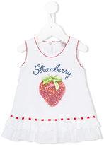 MonnaLisa strawberry design tank top - kids - Cotton/Spandex/Elastane/Crystal - 6 mth