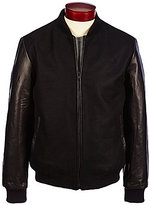 Murano Mixed Media Wool/Leather Varsity Bomber