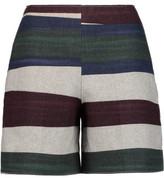 Carven Printed Wool-Blend Felt Shorts