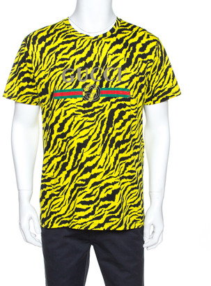 Gucci Yellow and Black Tiger Stripe Print Cotton T-Shirt XS