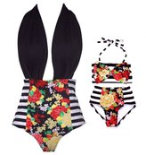 Mrs.Baker'Home 2 Styles Little Girl+Mother Floral Top Stripe Bottom Big Bowknot Bikini Set (1-2 Y, )