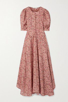 DÔEN Laurel Floral-print Cotton-blend Midi Dress - Pink