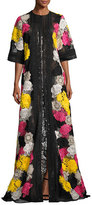 Naeem Khan Half-Sleeve Lace-Embroidered Caftan Coat