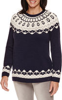 Sag Harbor Long Sleeve Boat Neck Fairisle Sweater