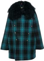 Etro Checked Fur Collared Pea coat