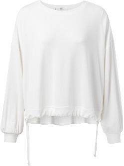 Ya-Ya Jersey Modal Sweatshirt with Drawstrings - Off White - Size XS (UK 8)