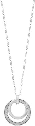 Sterling Silver Glitter Accent Double Circle Pendant Necklace