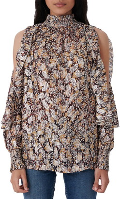 Maje Metallic Paisley Cold Shoulder Blouse