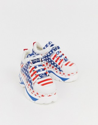 Buffalo David Bitton London classic lowtop sneakers in USA flag print-White