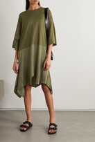 Thumbnail for your product : MM6 MAISON MARGIELA Asymmetric Cotton-jersey And Satin Dress - Green