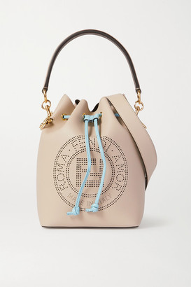 Fendi Mon Tresor Small Perforated Leather Bucket Bag - Neutral